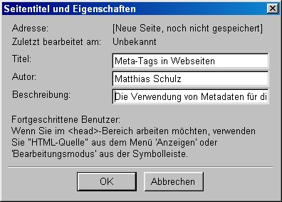 Metadatenmaske im Netscape Composer