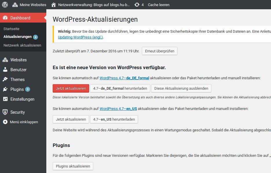 WordPress Aktualisierung Seite