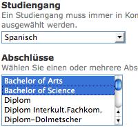 Auswahl der Studiengänge