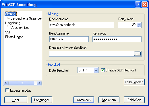 Winscp Web Support Des Computer Und Medienservice